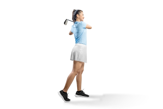 Femme asiatique balancer le club de golf de fer Photo Premium