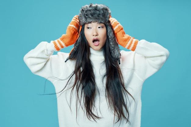 Femme Asiatique, Sur, Clair, Poser, Modèle Photo Premium