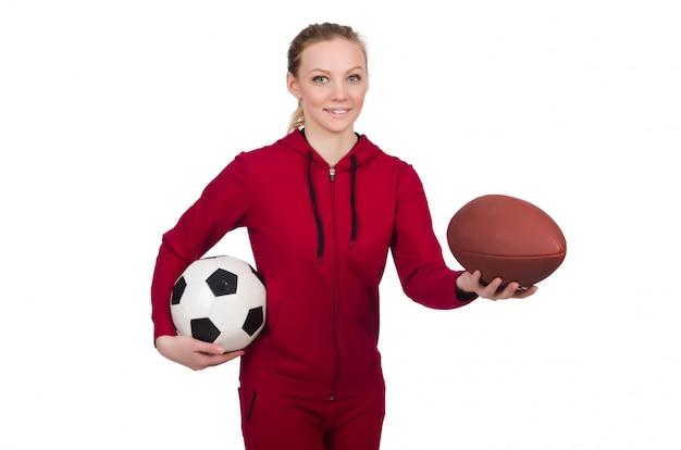 Femme au concept sportif isolé sur blanc Photo Premium