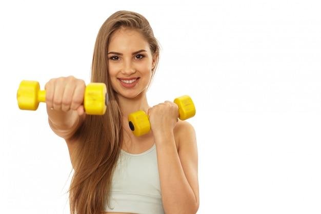 Femme en bonne forme physique prête à faire de l'exercice Photo Premium