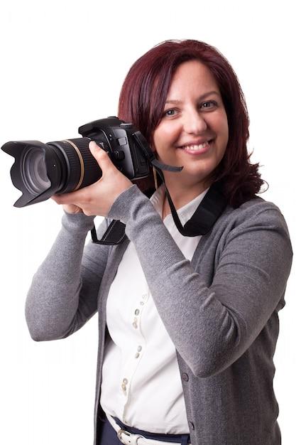 Femme avec camera Photo Premium