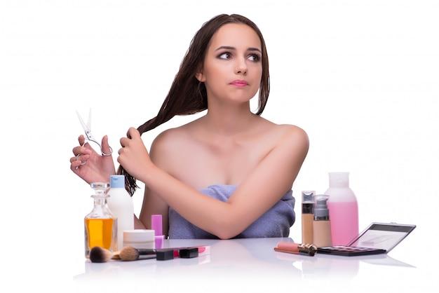 Femme, Cheveux, Isolé, Blanc Photo Premium