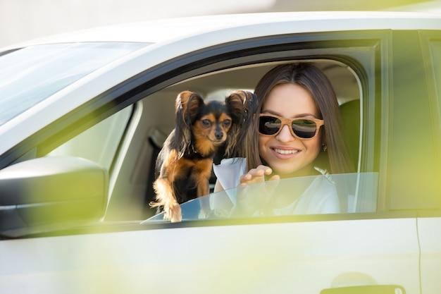 Femme Et Chien En Voiture Photo Premium