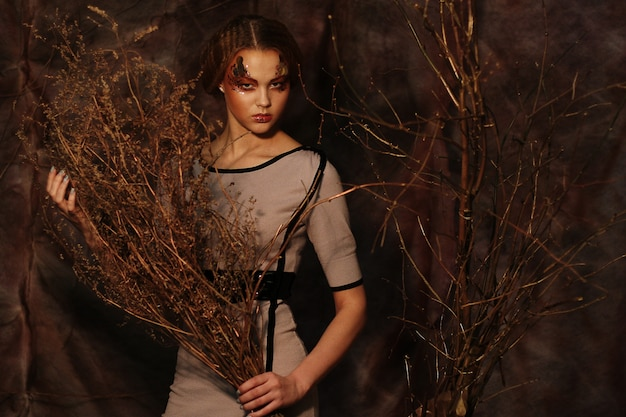 Femme, Clair, Maquillage, Sec, Branches Photo Premium