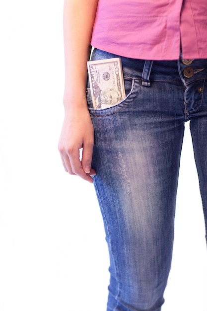 Femme Avec Dollars Dans Sa Poche Photo Premium