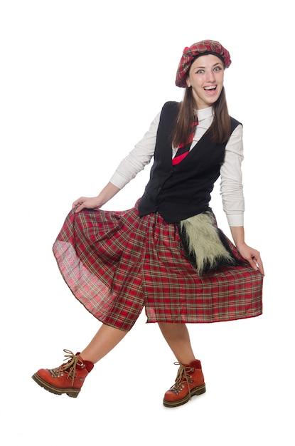 Femme écossaise isolée sur fond blanc Photo Premium