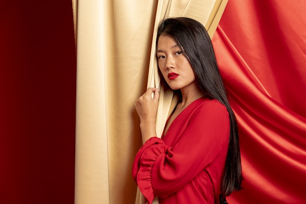 Femme élégante Posant Pour La Nouvelle Année Chinoise Photo gratuit