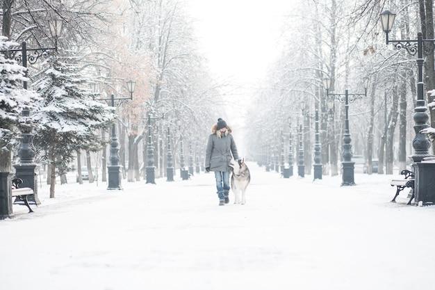 Femme Européenne Marchant Avec Jeune Chien Malamute D'alaska Dans La Ville D'hiver Photo Premium