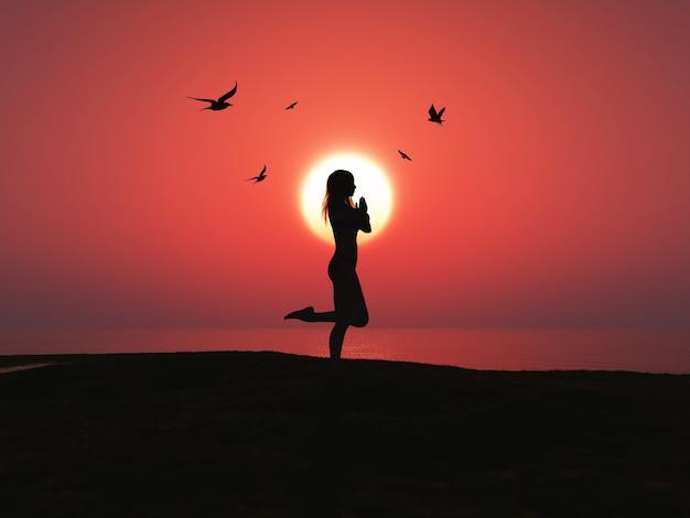 Femme faisant du yoga sur la plage Photo gratuit
