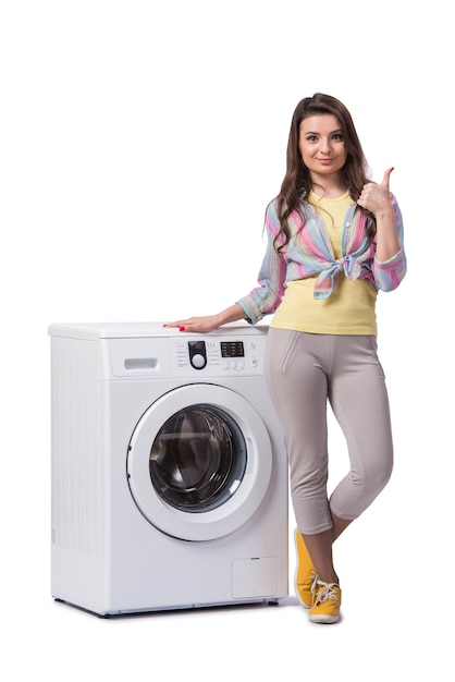 Femme, fatigué, après, lessive, isolé, blanc Photo Premium