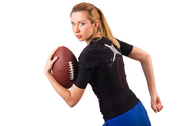 Femme, football américain, isolé, blanc Photo Premium