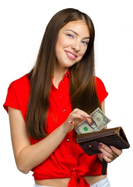 Femme Heureuse Avec De L'argent Photo Premium