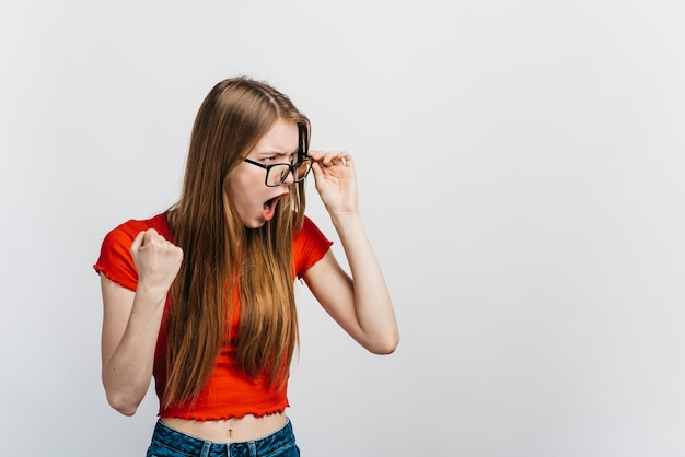 Femme à lunettes, choqué Photo gratuit