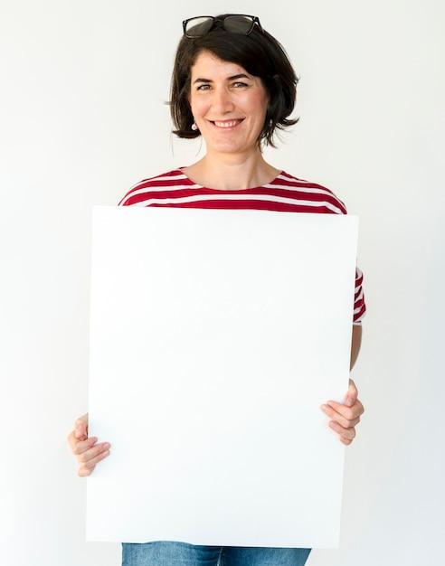 Femme, mains, voir, blanc, paper board Photo Premium