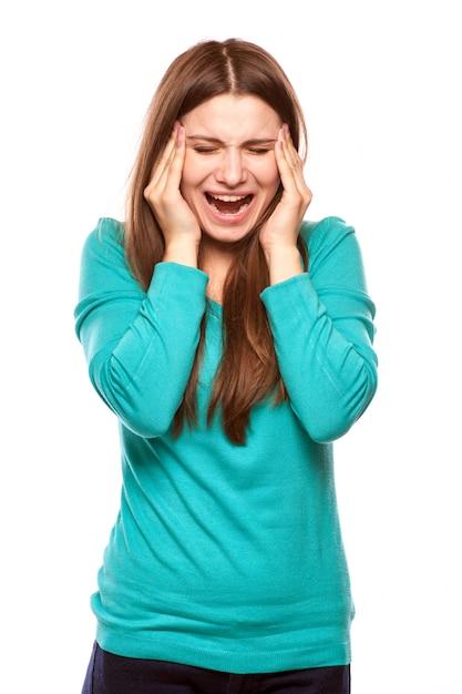 Femme avec mal tête Photo Premium