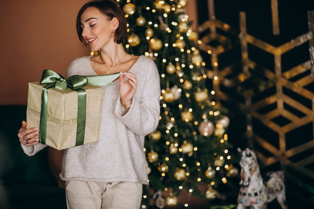 Femme, noël, tenue, noël, cadeau, noël, arbre Photo gratuit