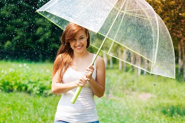 Femme Avec Parapluie Sous La Pluie Photo gratuit