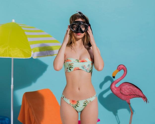 Femme, plongée, masque, plage Photo gratuit