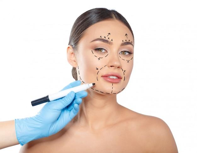 Femme, pointillé, visage, cosmétologie Photo Premium