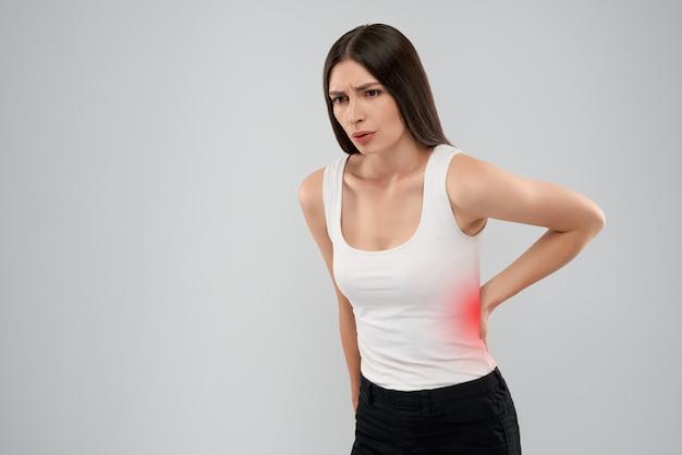 Femme, Projection, Douleur, Dos Photo Premium