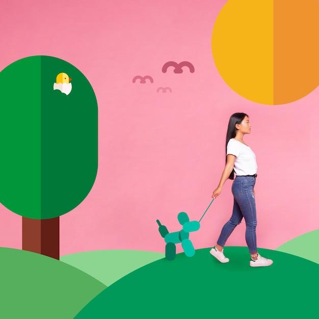 Femme qui marche sur le côté d'un chien iconos Photo gratuit