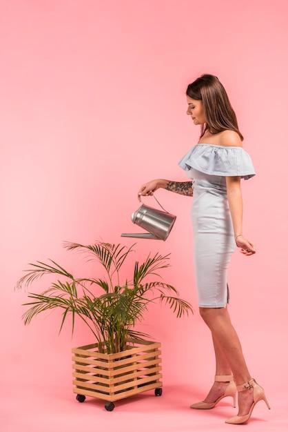 Femme, robe, arrosage, plante verte, dans, pot Photo gratuit