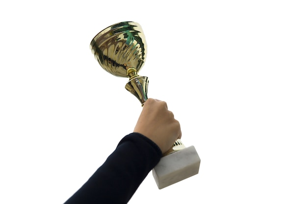 Femme, tenue, coupe trophée or Photo Premium
