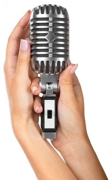 Femme, Tenue, Grand, Micro Rétro, Chanter Photo Premium