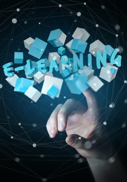 Femme, toucher, flottant, 3d, rendre, e-learning, présentation, à, cube Photo Premium