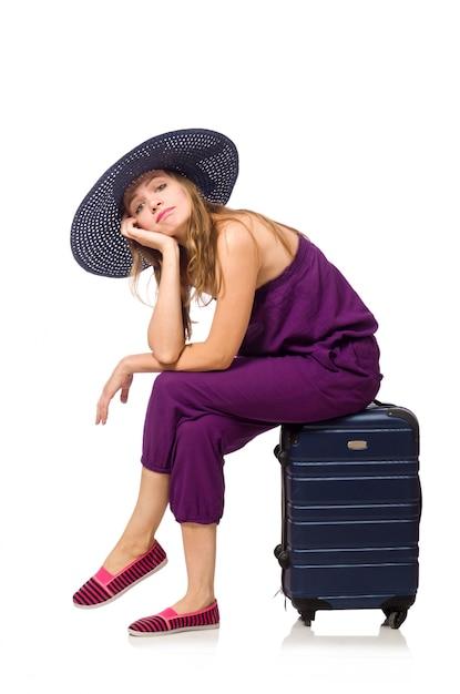 Femme avec valise isolé sur blanc Photo Premium