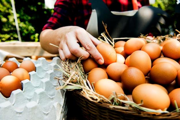 Femme vendant des œufs de poulet frais au marché fermier local Photo Premium
