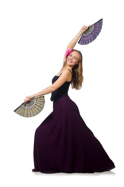 Femme avec ventilateur dansant isolé Photo Premium