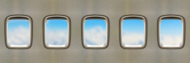 Fenêtres d'avion Photo Premium