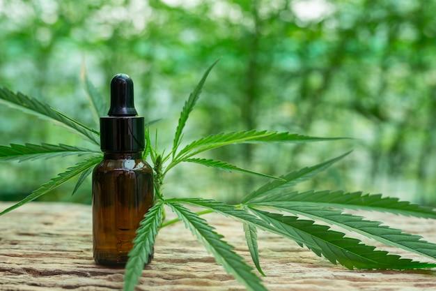 Feuille de cannabis extraite de l'huile de chanvre. Photo gratuit