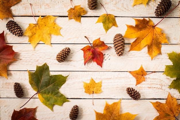 Feuilles d'automne colorées sur une surface en bois Photo Premium