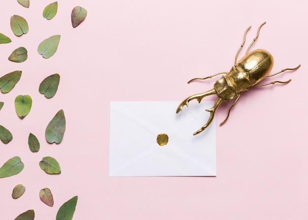 Feuilles, coléoptère et enveloppe Photo gratuit