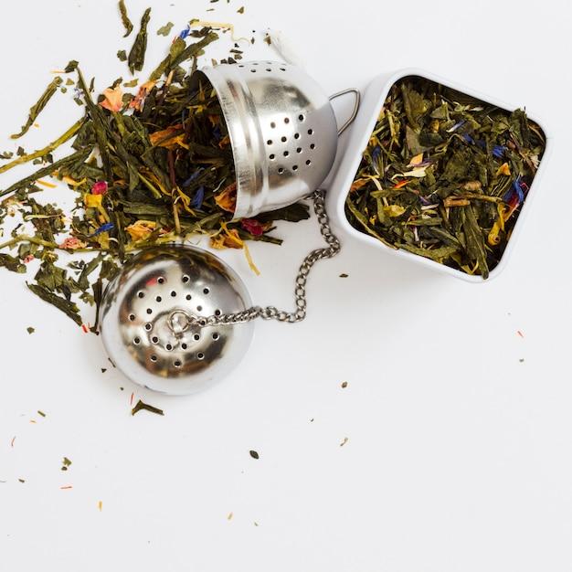 Feuilles de thé et des outils Photo gratuit