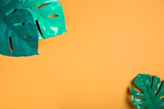 Feuilles vertes sur fond orange avec espace de copie Photo gratuit