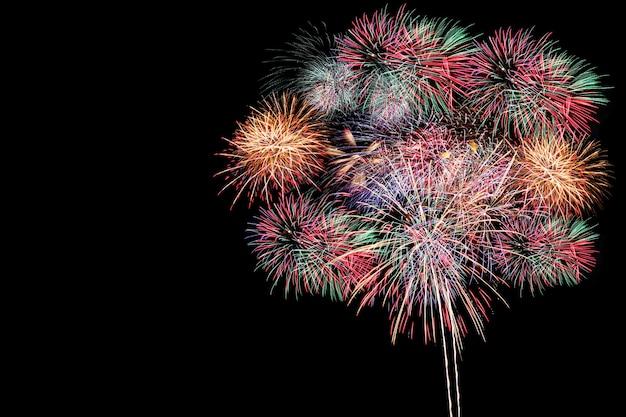 Feux D'artifice Colorés, Festival De Feux D'artifice Dans Le Concept Du Nouvel An. Photo Premium
