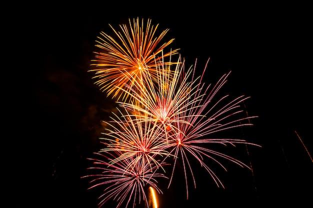 Des feux d'artifice illuminent le ciel Photo Premium