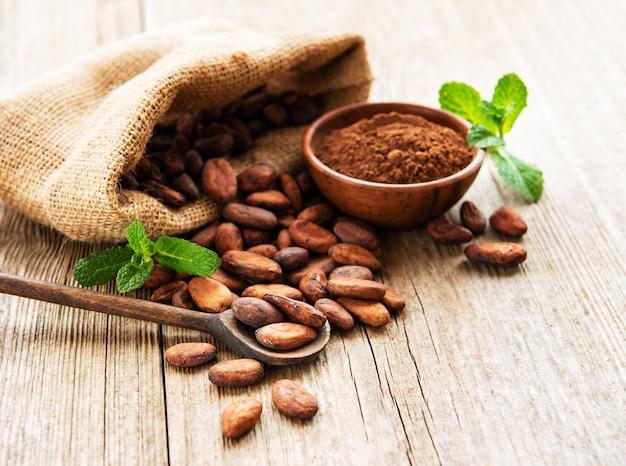 Fèves De Cacao Crues Et Poudre De Cacao Photo Premium