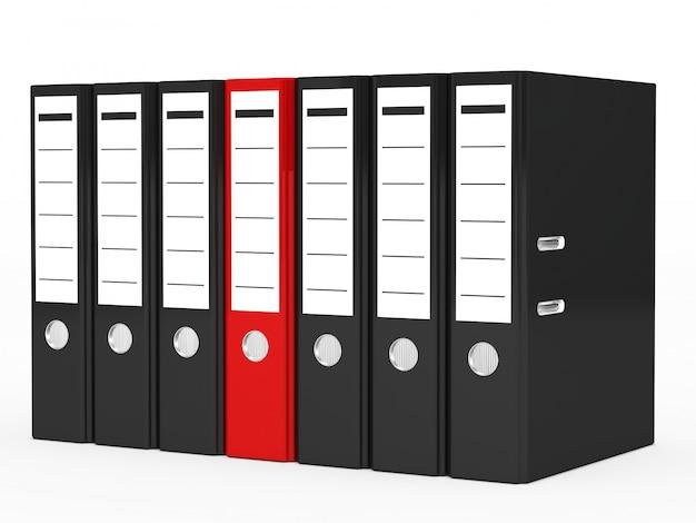 Fichier rouge entouré de fichiers noirs Photo gratuit
