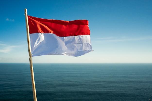 Fier Homme Indonésien Sur Une Falaise De Plage Soulevant Le Drapeau De L'indonésie Rouge Et Blanc Photo Premium
