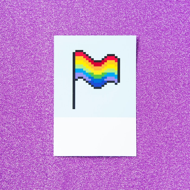 Fierté pixelisée drapeau arc-en-ciel lgbt Photo gratuit