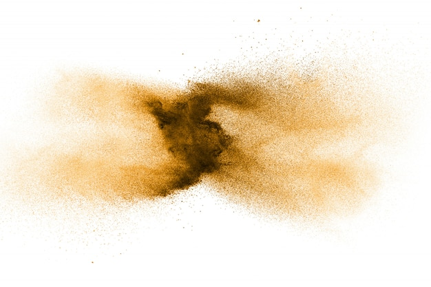 Figer Le Mouvement De L'explosion De Poussière Brune. Arrêter Le Mouvement De La Poudre Brune. Photo Premium