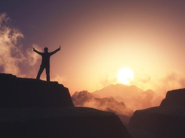 Figure Masculine 3d Avec Les Bras Levés Se Tenait Sur La Montagne Contre Le Ciel Coucher De Soleil Photo gratuit