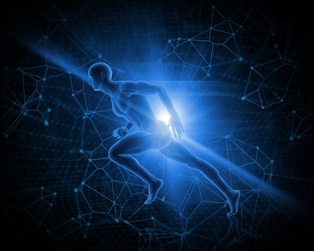 Figure masculine 3d en sprint pose sur fond abstrait poly faible Photo gratuit