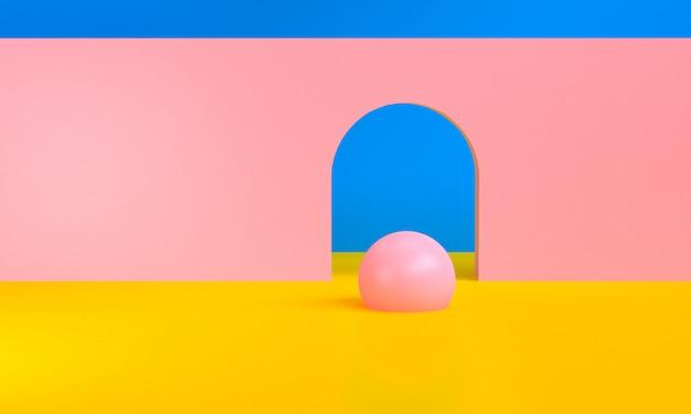 Figures géométriques abstraites minimalistes, rendu 3d. Photo Premium