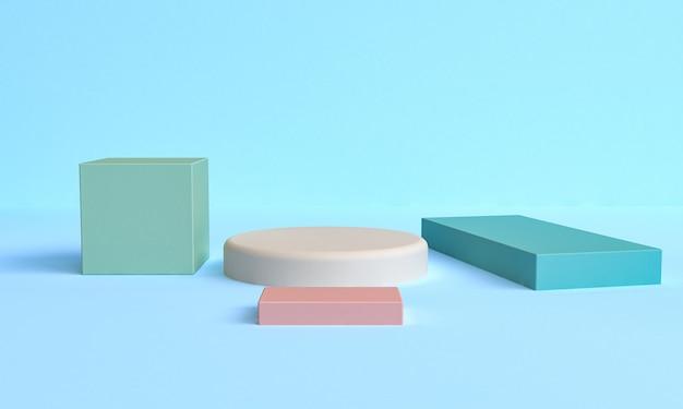 Figures géométriques primitives abstraites minimalistes, couleurs pastel, rendu 3d Photo Premium