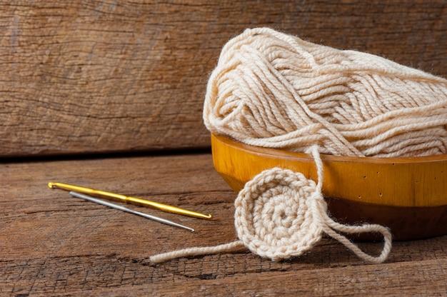 Fil de laine à tricoter Photo Premium